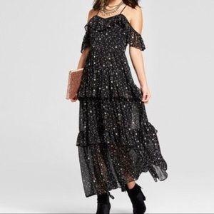 Star print off the shoulder dress.m